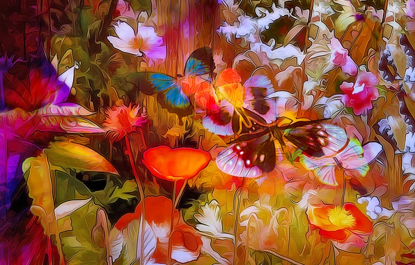 Picture line, flowers, nature, rendering, butterfly, paint, plant, petals, meadow