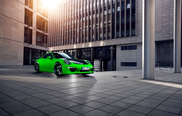 Picture the city, green, 911, Porsche, The building, Porsche, Carrera, techart, Sports car
