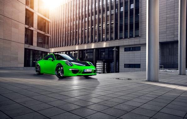 Picture the city, green, 911, Porsche, The building, Porsche, Carrera, techart, Sports car
