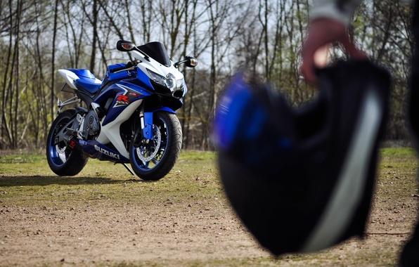 Picture blue, motorcycle, helmet, Supersport, suzuki, blue, Suzuki, gsx-r600