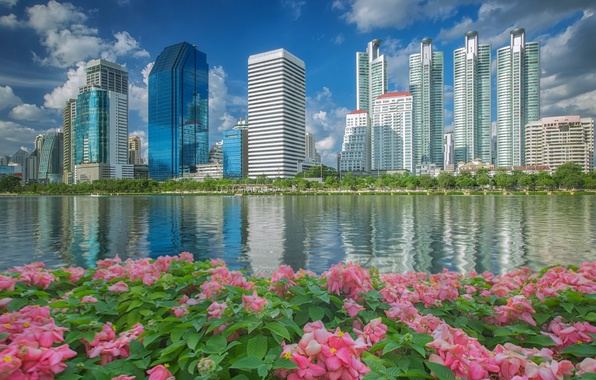 Picture water, flowers, building, Thailand, Bangkok, Thailand, promenade, skyscrapers, Bangkok