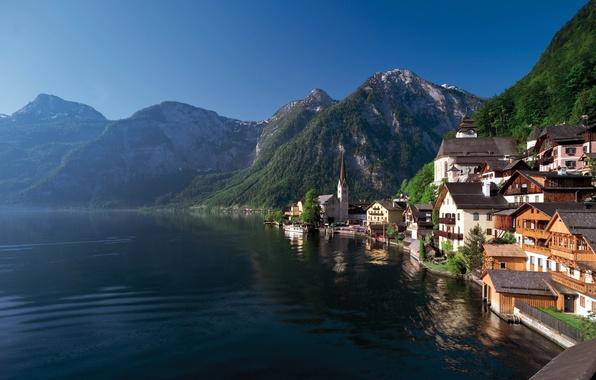 Picture forest, summer, mountains, lake, shore, home, town, Austria, Hallstatt