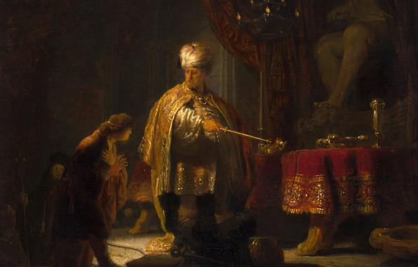 Picture picture, mythology, Rembrandt van Rijn, Daniel and King Cyrus of the Idol of Baal