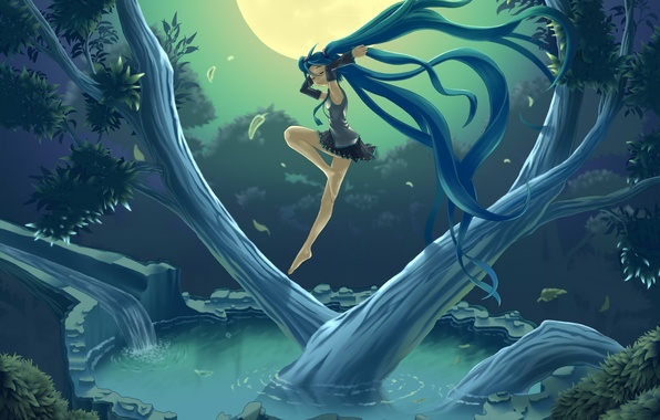 Picture the sky, water, girl, night, nature, tree, the moon, art, vocaloid, hatsune miku, Vocaloid, hare