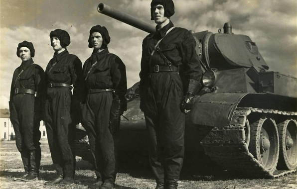 Picture machine, photo, black and white, tank, Victory, combat, the crew, tankers, T-34-76, The great Patriotic …