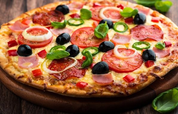 Picture cheese, bow, pizza, tomatoes, dish, olives, the dough, ham, salami
