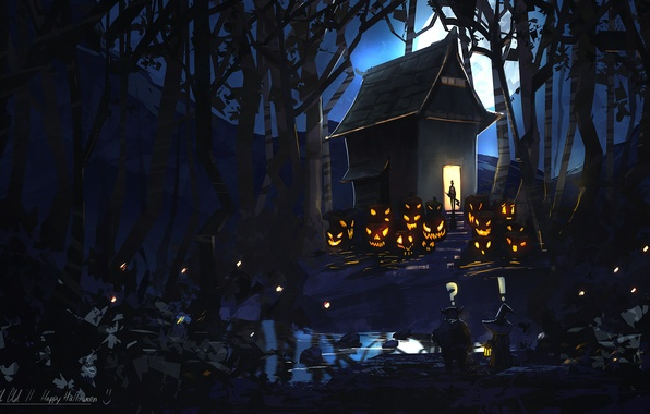 Picture forest, night, house, the moon, art, pumpkin, evil, happy halloween, by k04sk