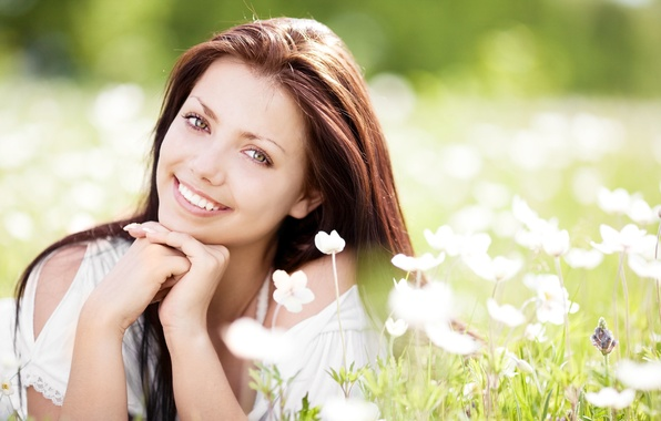 Picture summer, grass, flowers, smile, sweetheart, hair, Girl, spring, brunette, meadow, Girl, lies, summer, grass, beautiful, ...