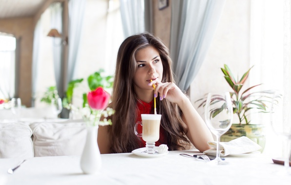 Picture girl, glass, cocktail, brown hair, table