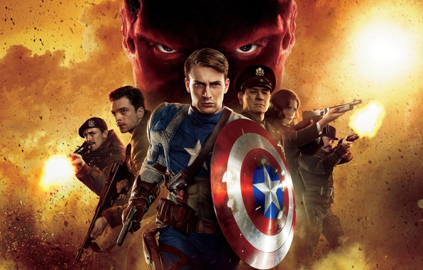 Picture gun, weapons, fire, the film, star, machine, shield, THE FIRST AVENGER, CAPTAIN AMERICA