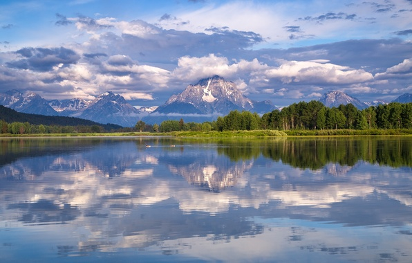 Picture forest, clouds, reflection, Wyoming, Wyoming, Grand Teton, Grand Teton National Park, Mount Moran, The Snake …