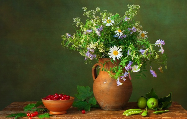 Picture flowers, berries, table, apples, bouquet, peas, pitcher, still life