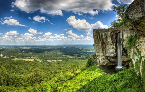 Picture forest, the sky, clouds, trees, mountains, open, rocks, waterfall, valley