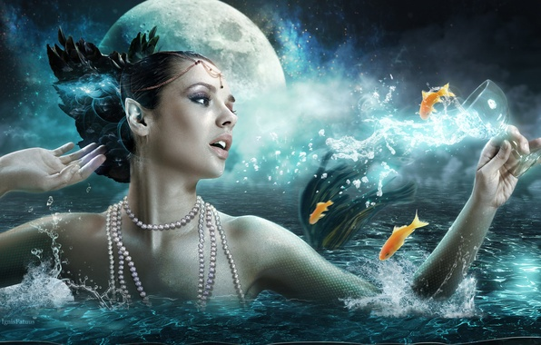Picture sea, girl, fish, the moon, girl, moon, fantasy, sea, art, fish