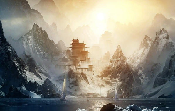Picture water, the sun, snow, the city, castle, ship, Mountains