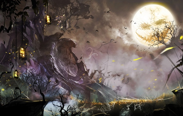 Picture trees, birds, night, face, the moon, art, lights, halloween, guild wars 2, horror
