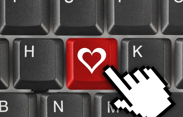 Picture red, background, Wallpaper, mood, black, heart, the cursor, button, wallpaper, keyboard, red, love, heart, widescreen, ...