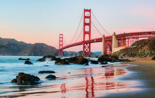 Picture beach, water, the city, shore, morning, CA, San Francisco, USA, San Francisco, Golden Gate вridge, …