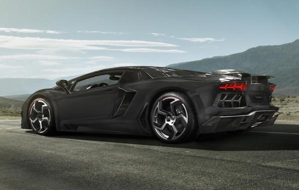Picture the sky, background, tuning, Lamborghini, supercar, carbon, rear view, tuning, Lamborghini, LP700-4, Aventador, Mansory, Aventador, …