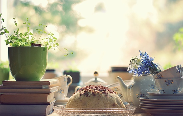 Picture light, flowers, table, mood, books, Breakfast, morning, Cup, cake, dishes, set