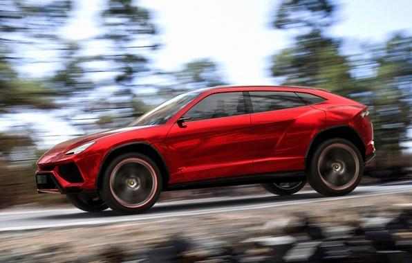 Picture Concept, the sky, trees, red, speed, Lamborghini, jeep, the concept, side view, Lamborghini, Urus, Urus