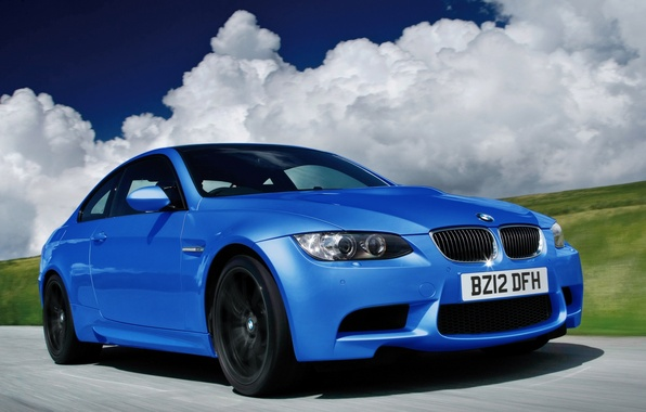 Picture clouds, blue, bmw, in motion, coupe, 500, limited edition