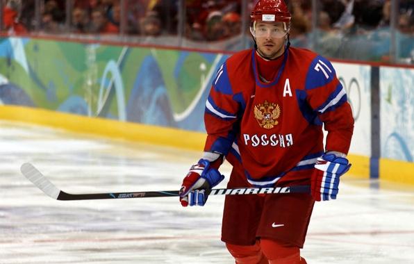 Picture Wallpaper, ice, helmet, form, coat of arms, stick, hockey, hockey player, Team Russia, Ilya Kovalchuk