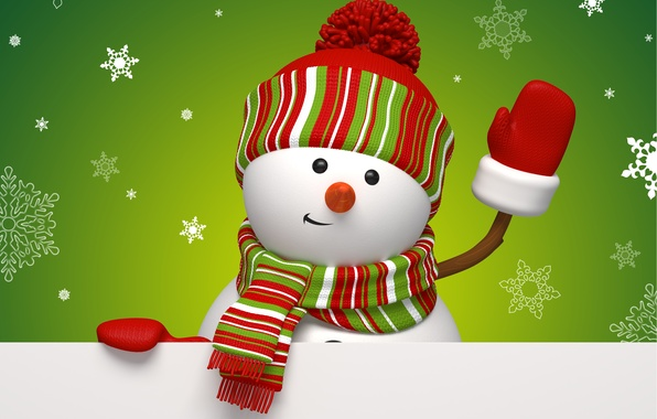 Picture winter, snowflakes, holiday, graphics, new year, Christmas, green, snowman, christmas, new year