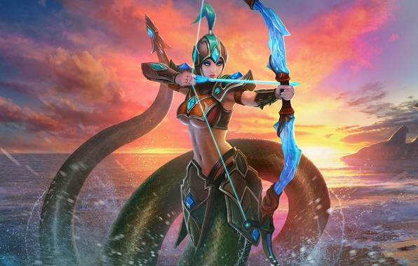 Picture sea, sunset, the game, being, bow, Archer, Juggernaut Wars, Naga Kertana