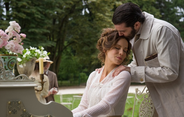 Picture flowers, frame, garden, pair, Kate Beckinsale, Kate Beckinsale, lovers, piano, vases, Jim Sturgess, Abode of …