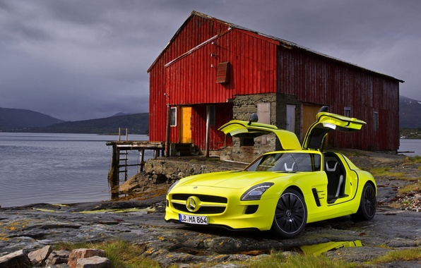 Picture red, house, and, sls, amg