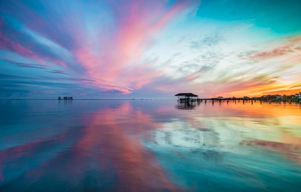 Picture sea, the sky, clouds, sunset, nature, reflection, shore, home, horizon, the village