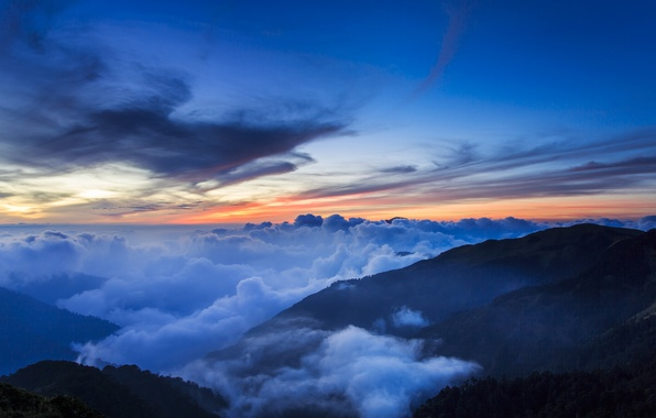 Picture the sky, clouds, trees, sunset, mountains, fog, hills, the evening, China, Taiwan, haze, National Park