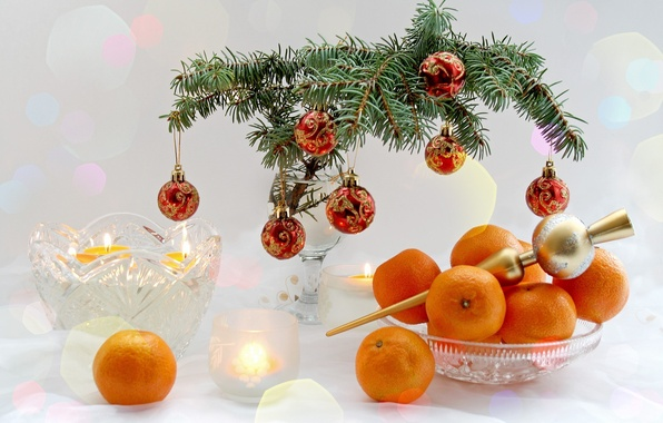 Picture branches, table, holiday, tree, new year, dishes, fruit, happy new year, holiday, tangerines, Christmas balls, …