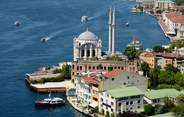 Picture Strait, shore, mosque, Istanbul, Turkey, The Bosphorus