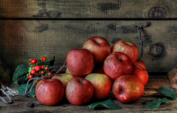 Picture berries, apples, red, fruit, still life, ripe
