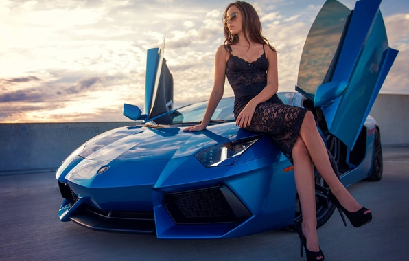 Picture Lamborghini, Girl, Legs, Beautiful, Model, Blue, LP700-4, Aventador, View, Supercar, Hair, Dress, Zoe P