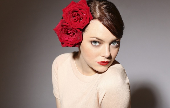 Picture background, roses, makeup, actress, hairstyle, photographer, red, brown hair, beauty, bow, photoshoot, Emma Stone, Emma ...