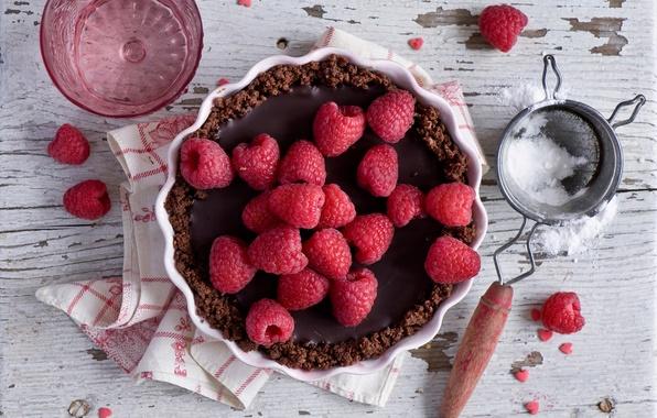 Wallpaper raspberry, pie, powder