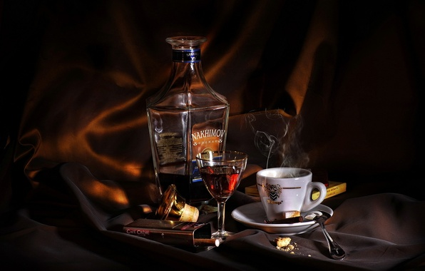 Picture background, coffee, cigarette, pack, cognac, dark, tea, spoon, glass, saucer, Cup, «Nakhimov», cigars, small, fuming, …