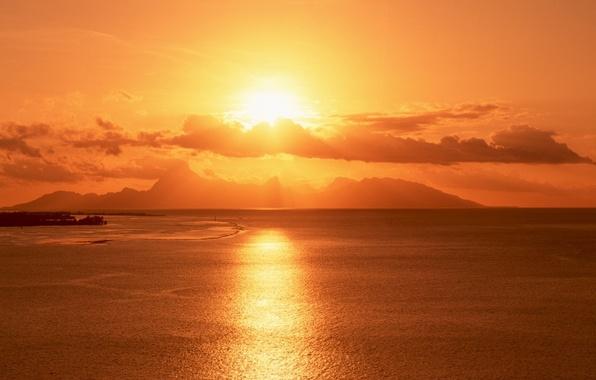 Picture sea, the sun, sunset, mountains, island