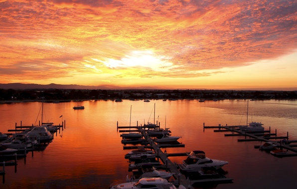 Picture the sky, the sun, clouds, sunset, orange, shore, coast, Sea, yachts, the evening