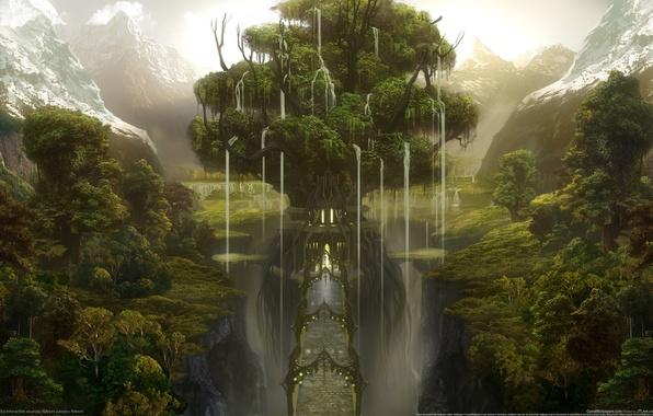 Picture forest, mountains, bridge, castle, tree, gorge