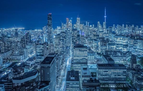 Picture building, Canada, panorama, Toronto, Canada, night city, skyscrapers, Toronto