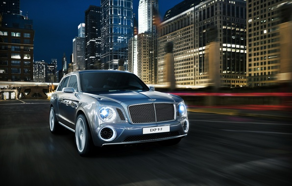 Picture the city, photo, blue, Bentley, car, 2012, front, EXP 9 F, luxury