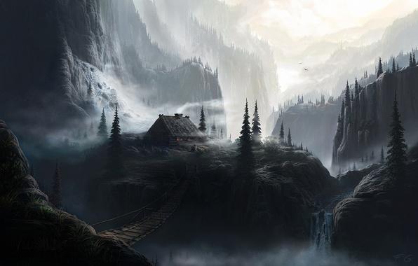 Picture forest, mountains, bridge, hut, Fel-X