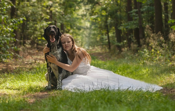 Picture forest, dog, dress, friendship, girl, friends