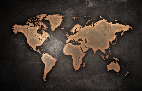 Picture map, continents, grunge