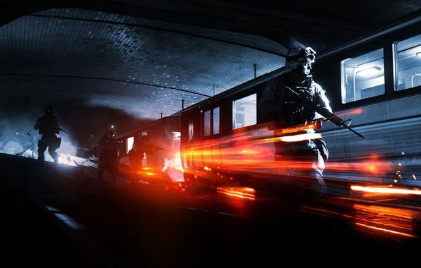 Picture metro, train, soldiers, Battlefield 3