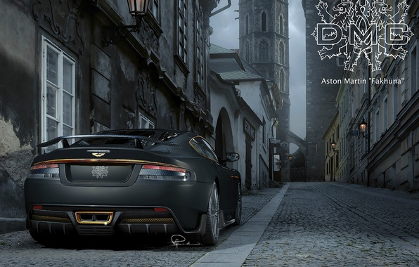 Picture the inscription, Aston Martin, street, tuning, DBS, pavers, supercar, coat of arms, rear view, tuning, …
